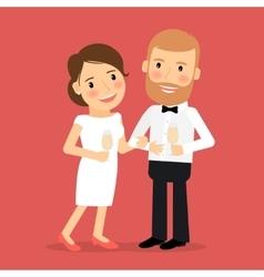 Celebrating romantic couple icon vector