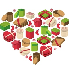 Christmas heart made of gift boxes vector image