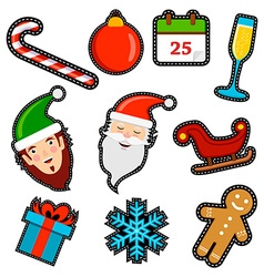 Christmas icon patch set of holiday decoration vector image vector image