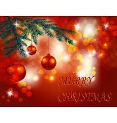 Christmas New Year greeting Three shiny red vector image vector image