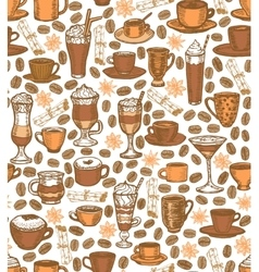 coffee background with cups and cocktails vector image vector image
