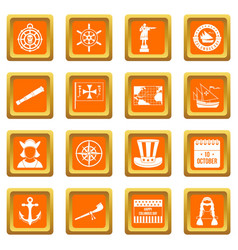 Columbus day icons set orange vector