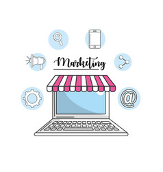 Computer to marketing business and technology vector