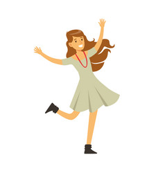 Cute girl in grey dress dancing on dancefloor vector