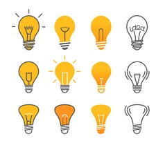 Different light bulb isolated on white set vector image vector image