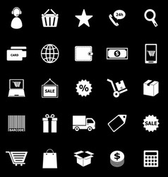 E commerce icons on black background vector image vector image