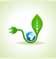 Eco energy concept with leafplug and earth vector