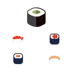 flat icon sushi set of gourmet salmon rolls maki vector image