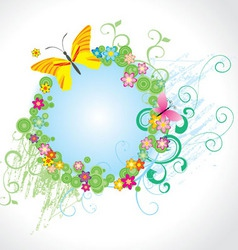 flowers and butterfly round frame vector image vector image