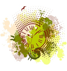 grunge abstract background with antique clocks vector image