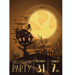 Halloween party poster with spooky castle vector