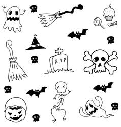 Hand draw element halloween doodle vector