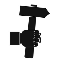 Hand hoding hammer with tool icon vector