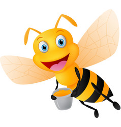 happy bee cartoon with honey vector image vector image