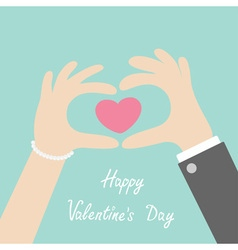 Happy Valentines day Man woman hands in the form vector image vector image