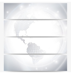 Headers set with dotted world globe light design vector image