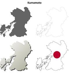 Kumamoto blank outline map set vector