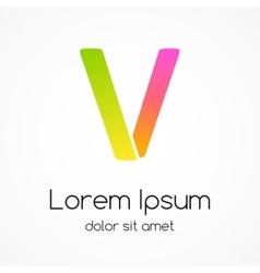 Logo letter V company design template vector image
