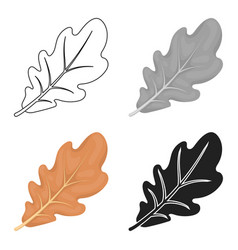 Oak leaf icon in cartoon style isolated on white vector