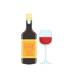 Red wine bottle and glass portuguese famous symbol vector