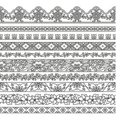 set of floral elements for ethnic decor vector image