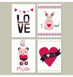 Set of love card vector