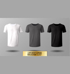 shirt mock up set t-shirt template black gray vector image