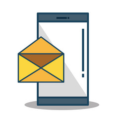 smartphone device with envelope isolated icon vector image