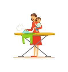 Super mom with child ironing clothes vector
