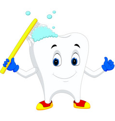tooth cartoon holding toothbrush vector image