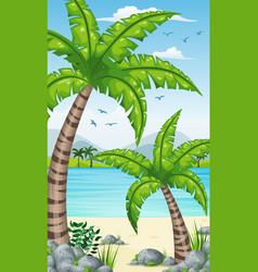 Vertical tropical coastal background for mobile vector