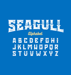 Vintage style seagull font vector
