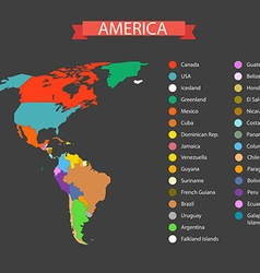 World map infographic template countries of americ vector