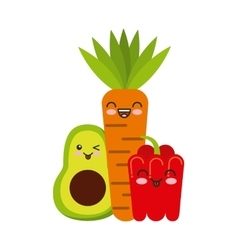 Fresh vegetables kawaii character isolated icon vector