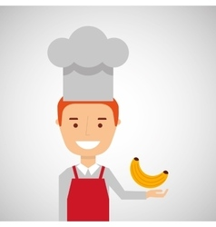 Cheerful chef fresh banana graphic vector