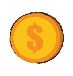 Coin dollar money currency sketch vector