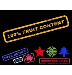 100 percent fruit content rubber stamp vector