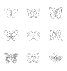 Creatures butterflies icons set outline style vector