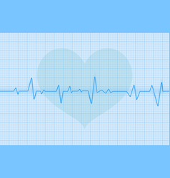 blue electrocardiogram with heart symbol vector image