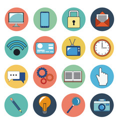 Digital marketing social media icons vector