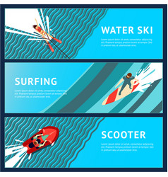 Water sport horizontal banner flat style top vector