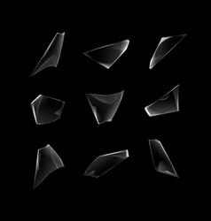 set of broken shattered glass window pieces vector image