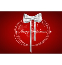 Christmas background with Shiny gift bow vector image