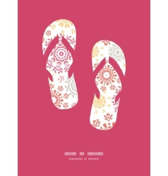 Folk floral circles abstract flip flops vector