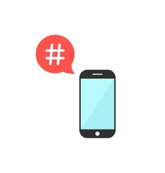 Hashtag in red speech bubble with smartphone vector