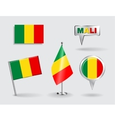 Set of Malian pin icon and map pointer flags vector image