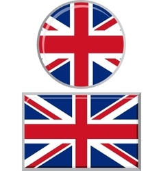 British round and square icon flag vector