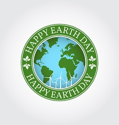 Happy earth day badge label logo rubber stamp vector