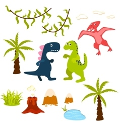 Dinosaur and jungle tree clipart set vector