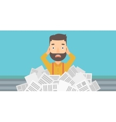 Man in stack of newspapers vector